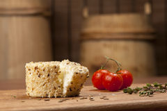 Cheese fantasy. Spices and tomatoes Royalty Free Stock Image