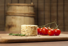 Cheese fantasy. Spices and tomatoes Royalty Free Stock Photo