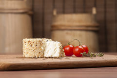 Cheese fantasy. Spices and tomatoes Stock Images