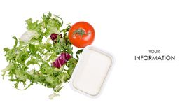 Cheese feta leaves of lettuce tomatoes pattern royalty free stock photo