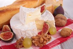 Cheese, fig,nuts Stock Image