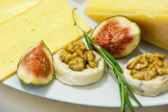 Cheese and figs Royalty Free Stock Image