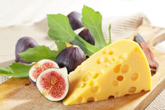 Cheese and figs stock photography