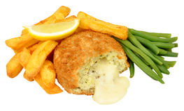 Cheese Filled Fish Cake And Chips Meal Stock Images