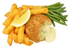 Cheese Filled Fish Cake And Chips Meal Stock Image