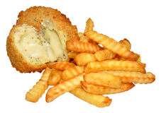 Cheese Filled Fishcakes And Chips Stock Photography