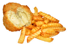 Cheese Filled Fishcakes And Chips Stock Photos