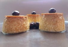 Cheese flan and chocolate blueberry Stock Photo