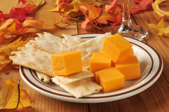 Cheese with flatbread crackers Stock Photo