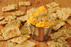Cheese and flatbread crackers Royalty Free Stock Images
