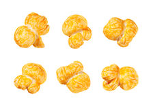 Cheese Flavored Popcorn isolated on white stock photos