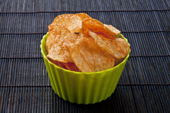 Cheese flavored potato chips Stock Images