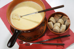 Cheese fondue. French cheese simple fondue cuisine royalty free stock photography