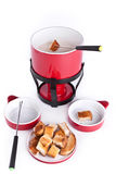 Cheese fondue with bread Royalty Free Stock Photography