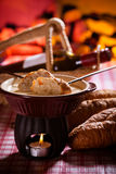 Cheese fondue. Traditional Swiss food for winter royalty free stock images