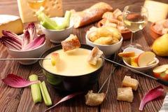 Cheese fondue. With vegetable,bread,potato stock photo