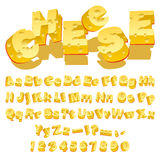 Cheese font. Cheese decorative letters (Typeface) on white background. Vector Illustration Royalty Free Stock Photography