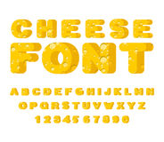 Cheese font. cheesy ABC. Food alphabet. Yellow letters milk prod. Uct stock illustration