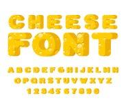 Cheese font. cheesy ABC. Food alphabet. Yellow letters milk prod Stock Photo