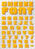 Cheese font Letters and numbers. Cheese font Letters and numbers on a transparent background . Vector illustration Royalty Free Stock Photography