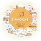 Cheese food banner with gouda and cheddar, chechil. Sketch banner with gouda cheese piece or chunk at middle. Vegetarian food of mozzarella and muenster, cheddar Royalty Free Stock Images
