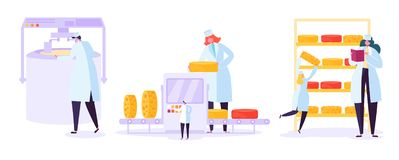Cheese Food Production Factory Set. Commercial Character Making Dairy Machinery Process in Metal Tank. Milk Ripening. Manufacturing Equipment Line Flat Cartoon stock illustration