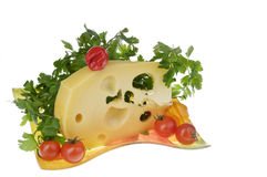 Cheese food with vegetables over white. Royalty Free Stock Photography