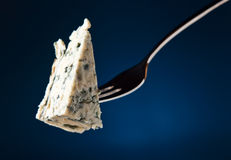 Cheese on fork Royalty Free Stock Photos