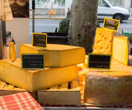 Cheese in the French Cheese Market. In Sanary Sur Le Mer, different cheeses for sale on Market day Royalty Free Stock Images