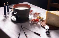 Cheese French fondue stock image