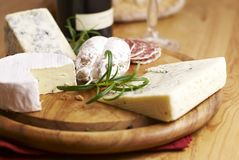 Cheese and French Salami Stock Photos