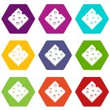 Cheese fresh block icon set color hexahedron Stock Image