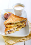 Cheese and fresh fig grilled sandwiches Royalty Free Stock Image
