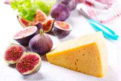 Cheese with fresh figs Stock Image