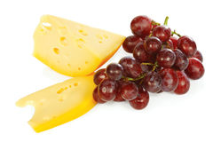 Cheese and fresh grapes Royalty Free Stock Photos