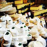 Cheese fresh produce farmers market Brie Royalty Free Stock Images