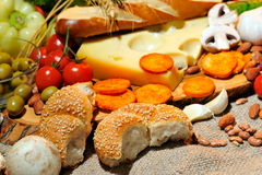 Cheese and fresh vegetables Royalty Free Stock Image