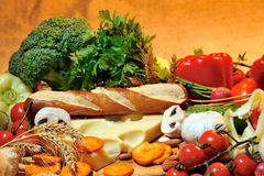 Cheese and fresh vegetables Stock Photography