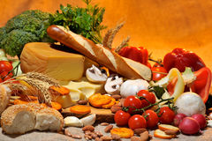Cheese and fresh vegetables Royalty Free Stock Photos