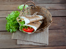 Cheese and fresh vegetables wrap sandwich Stock Photo