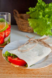 Cheese and fresh vegetables wrap sandwich Royalty Free Stock Photos