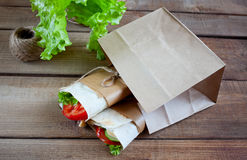 Cheese and fresh vegetables wrap sandwich Royalty Free Stock Images