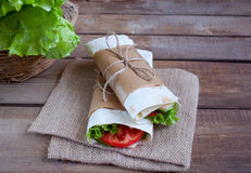 Cheese and fresh vegetables wrap sandwich Stock Image