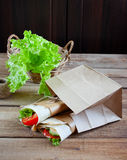 Cheese and fresh vegetables wrap sandwich Stock Photography