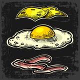 Cheese, fried egg and slices of crisp bacon. Vector vintage engraving illustration for poster, menu, web, banner, info. Cheese, fried egg and slices of crisp stock illustration