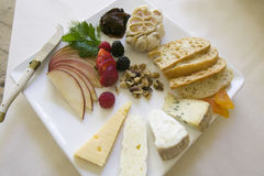 Cheese and Fruit Appetizer Plate Royalty Free Stock Images