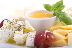 Cheese with fruit and honey Royalty Free Stock Photography