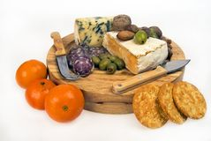 Cheese and fruit plate Royalty Free Stock Photography
