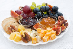 Cheese and fruit plate, closeup Royalty Free Stock Photo
