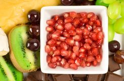 Cheese and fruit platter Stock Photos